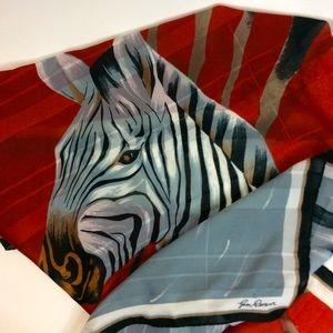 Vintage Gina Renoir Zebra Red Black Large Scarf